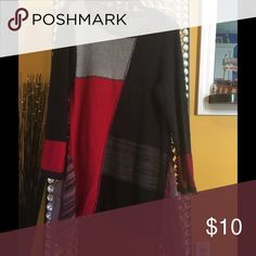 Tunic sweater Black Red & Gray patched tunic sweater. Gently worn.. Dry cleaned only Style & Co Sweaters Crew & Scoop Necks
