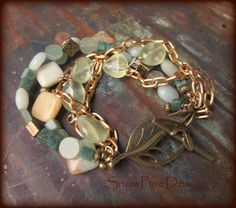 Bleached Blue Green Multi Stone and Brass Bracelet by SnowPineDesign on Etsy https://www.etsy.com/listing/215082689/bleached-blue-green-multi-stone-and