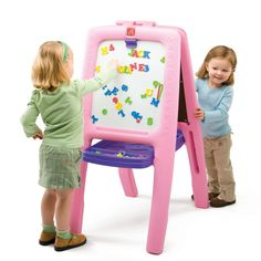 Pink Easel for Two. This easel is multi-functional and perfect for play-dates. Now, one more can join in on the fun! Two-sided easel features one metal dry-erase . Hobbies For Girls, Toys For Girls, Gifts For Girls, Rc Hobbies, Kids Gifts, Toddler Girl Gifts, Toddler Toys, Kids Toys, Toddler Stuff