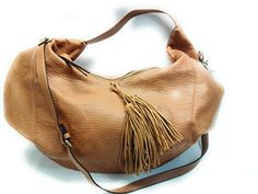 DV Women's Faux Leather Hobo Handbag with Tassel Detail and Zip Closure