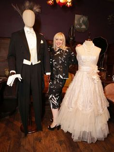 The Great Gatsby (2013)   Academy Award-winning designer Catherine Martin poses with two of her costume creations (wedding clothes for Tom and Daisy Buchanan) at the Century Guild art gallery in Culver City, CA.