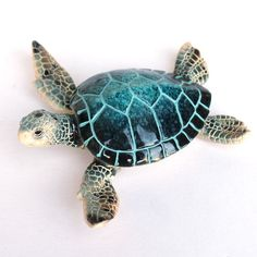 Sea Birds & Sea Life Statues & Figurines - California Seashell Co Clay Turtle, Ceramic Turtle, Sea Turtle Decor, Sea Turtle Shell, Sea Turtles, Tribal Shoulder Tattoos, Tribal Tattoos, Turtle Figurines, Turtle Painting