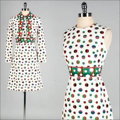 Vintage 1960s Dress . White . Plaid Dots . Bolero Jacket . Mod