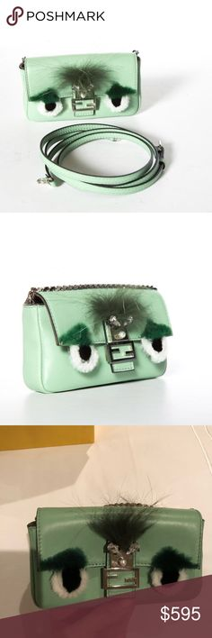 Fendi Micro Baguette bag Green fendi micro baguette bag - perfect for spring!  Super cute and in trend to wear alone, on another bag or as a bum bag, fits iPhone X or iPhone 8. 100% authentic, real mink fur and crystal detailing. In great condition comes with original dust bag and box. Fendi Bags Mini Bags