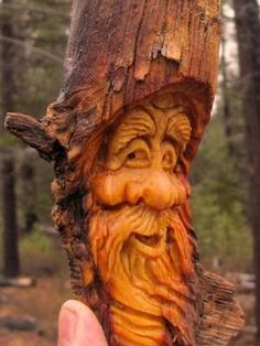 Tree Wood Spirit Carving Sculpture Log Home Gnome Cabin Art Forest Face