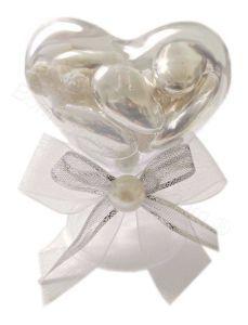 Segnaposto Nozze Argento Alzatina Cuore Perla Confezionato