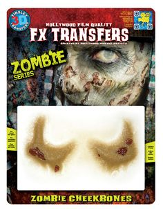 Zombie 3D FX Transfers, The Revolutionary New Prosthetic. This Technology Garnered Tinsley Transfers An Academy Award For Technical Achievement. Easy To Apply, Self Blending, No Need For Any Glues Or Messy Adhesives And Looks Absolutely REAL!