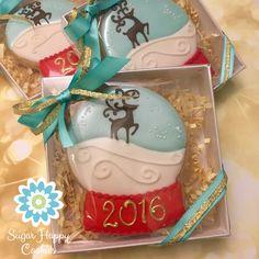 snow globe sugar cookies, gift boxed cookie favors, reindeer