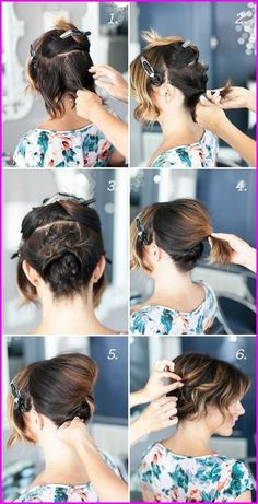 30 cute braided hairstyles for short hair hair hairstyle coiffure 10 easy half up hairstyles for short hair tutorial 15 … Cute Hairstyles Updos, Second Day Hairstyles, Step By Step Hairstyles, Hairstyle Ideas, Hairstyle Tutorials, Layered Hairstyles, Simple Hairstyles, Wedding Hairstyles, Loose Updo