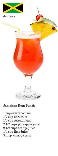 Rum punch Jamaican Rum Punch Recipes, Fruity Cocktails, Cocktails To Try, Cocktail Drinks, Cocktail Recipes, Hurricane Glass, Alcoholic Drinks, Beverages, Alcohol Recipes