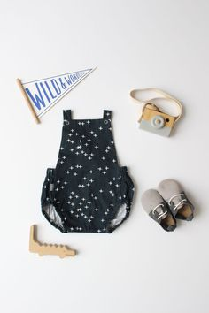 Organic Baby Romper / Vintage Summer Romper - Twinkle - READY TO SHIP by Little Dreamer