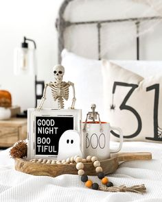 """Farmhouse • Rae Dunn on Instagram: """"•👻• Are you guys night owls or early birds?! I am not a morning person what so ever. Have a great night my boo-tiful…"""" Halloween Displays, Halloween Decorations, Have A Great Night, Morning Person, Night Owl, Early Bird, Fall Halloween, Modern Farmhouse, Place Card Holders"""