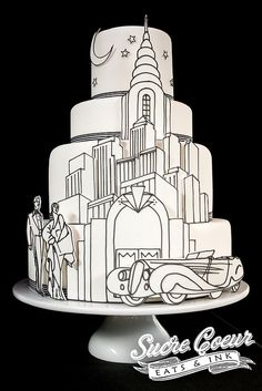 Art Deco Skyline Cake by Sucre Coeur - Eats & Ink, via Flickr    That is a beautiful cake. love the art deco.