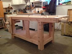 Workbench Legs, Woodworking Workbench, Woodworking Tools, Wood Vise, Garage Workshop Plans, Workbench Designs, Carpenter Work, Lake Erie, Carpentry