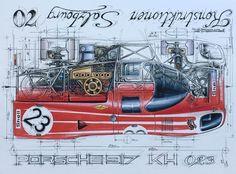 Diagram of a 70 Porsche 917 KH by Sebastien Sauvadet Limited Edition Size: 30 x Diagram of a 70 Porsche 917 KH Size: 30 x Limited Edition of We use DPD or DHL. Porsche Autos, Bmw Autos, Porsche Cars, Gt Cars, Race Cars, Vintage Racing, Vintage Cars, Car Illustration, Car Posters