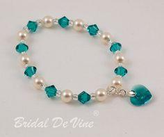 Bridesmaid Flower Girls Bracelet Teal Blue Zircon by BridalDeVine
