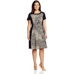 Sandra Darren Women's Plus-Size Cap Sleeve Animal Print Fit and Flare Dress