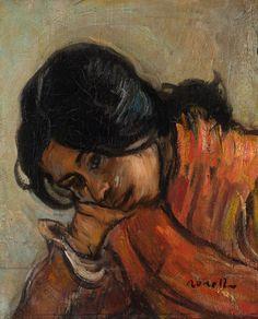 Isidre Nonell, 'Gitana' Spanish Art, Sculpture, Green Backgrounds, Pretty Pictures, Love Art, Female Art, Graphic Design, Portrait, Image