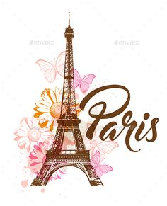 Buy Decorative Background with Paris by Artness on GraphicRiver. Vector abstract background with Eiffel tower, flowers and butterflies. Zip file contains fully editable vector . Eiffel Tower Photography, Paris Photography, Paris Images, Paris Pictures, Paris Wallpaper, Disney Wallpaper, Wallpaper Iphone Cute, Cute Wallpapers, Paris Kunst