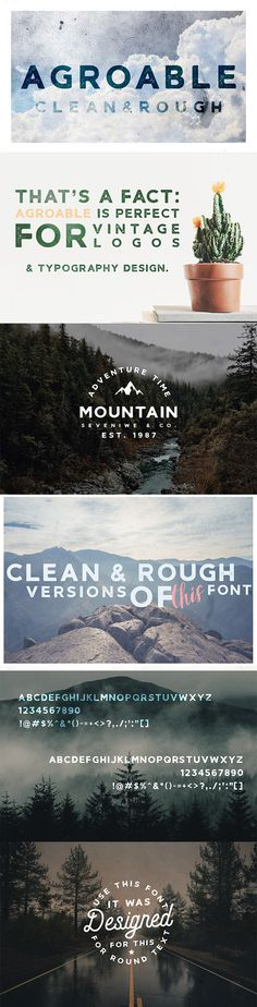 Buy Agroable - Clean & Rough Font by seveniwe on GraphicRiver. Agroable – vintage sans serif font in two versions: clean and rough with little gritty effect. Font is perfect for de. Vintage Typography, Typography Fonts, Typography Design, Hand Lettering, Typography Alphabet, Font Design, Graphic Design, Design Art, Professional Fonts