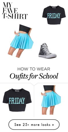 """School day"" by jelloian on Polyvore featuring Alberta Ferretti, WithChic, Converse and MyFaveTshirt"