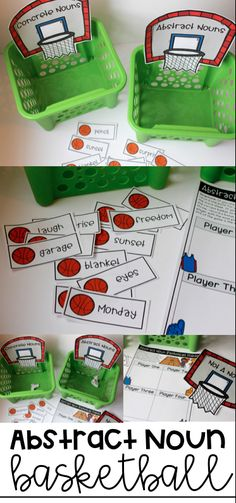 Abstract Noun Basketball Game! Love this engaging grammar game for literacy centers and review! Also includes an abstract noun quiz!