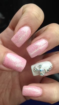 pink acrylic nails with glitter