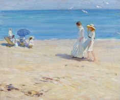 Helen McNicoll, The Blue Sea (On the Beach at St. Malo), c. 1914, oil on canvas, 51.4 x 61 cm, private collection. #ArtCanInstitute #CanadianArt