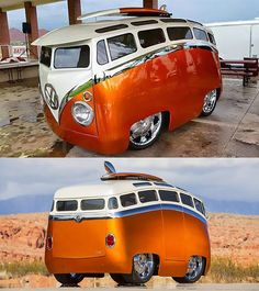 It might look like a vehicle popped straight out of a cartoon, but Ron Berry's crazy VW Bus is the real thing. Volkswagen Bus, Vw T1, Vw Camper, Volkswagen Beetles, Split Screen, Harley D, Cool Vans, Truck Art, Custom Vans