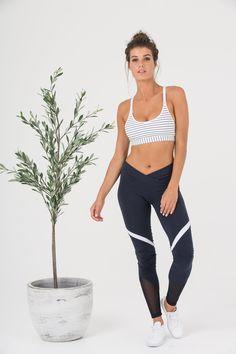 Focus Sports Crop White Navy Stripe - Maternity & Nursing Sports Bra - LEGOE.