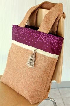 Burlap Color block Tote bag sewing tutorial