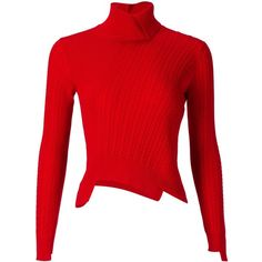 Mihara Yasuhiro Asymmetric Cable-Knit Sweater ($369) ❤ liked on Polyvore featuring tops, sweaters, red, wool cable sweater, red sweater, asymmetrical sweater, cable sweater and cableknit sweater
