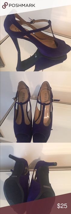 Purple Suede Peep Toe T-strap  Guess shoes These are basically brand new. Purple Suede just in time for Fall! Guess Shoes Heels