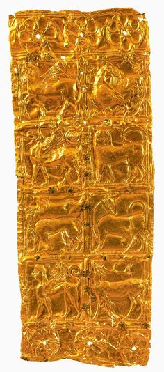Gold foil with embossed decoration from Delphi (Greece). Goldsmith art, Greek Civilization, ca 6th Century BC. Location: Archaeological Museum City: Delphi Country: Greece http://www.scalarchives.com/web/dettaglio_immagine.asp?idImmagine=DA83046&posizione=33&inCarrello=False&numImmagini=146&