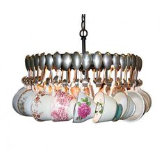 Antique Spoon Chandelier with Teacups $1400.00