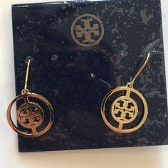 Gold tone deco logo drop earrings New Tory Burch Jewelry Earrings