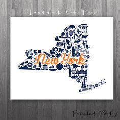 Syracuse New York Landmark State Giclée Print  8x10 by PaintedPost, $15.00 #paintedpoststudio - Syracuse University - SUNY - Syracuse Orange- What a great and memorable gift for graduation, sorority, hostess, and best friend gifts! Also perfect for dorm decor! :)