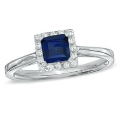 Princess-Cut Lab-Created Blue Sapphire and 1/7 CT. T.W. Diamond Engagement Ring in 10K White Gold - Zales