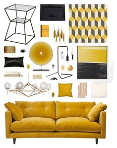 """""""Yellow & Black Abstract Decor"""" by belenloperfido ❤ liked on Polyvore featuring interior, interiors, interior design, home, home decor, interior decorating, West Elm, Mitchell Gold + Bob Williams, Cole & Son and Jars"""