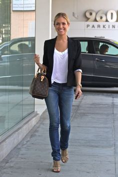 Simple blazer and white t-shirt