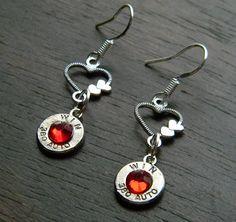 Two Hearts Bullet Earrings for Women Bullet Earrings, Bullet Jewelry, Women's Earrings, Ammo Crafts, Bullet Crafts, Bullet Designs, Bullet Shell, Two Hearts, Jewelry Crafts