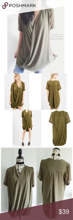 """Topshop Olive Green Chiffon Draped Tunic Dress This draped tunic can be worn as a flirty short tunic dress or as a longer top with leggings or Skinnies. It's a cute piece to dress up with longer boots{actual color of item may vary slightly from pics}  *chest:23"""" *waist:25"""" *length:30.5"""" *sleeves:10.5"""" *material/care:chiffon/machine washable  *fit:billowy/might work for med too *condition:no rips/light spot on back very feint not noticeable    20% off bundles of 3/more items No Trades  NO…"""