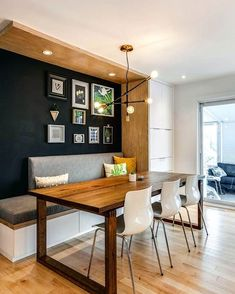 Kitchen Dining / Inspiration # interior home # # interior decor . Dining Room Bench, Kitchen Benches, Dining Nook, Dining Room Lighting, Dining Room Design, Kitchen Wood, Kitchen Black, Design Kitchen, Kitchen Lighting