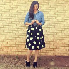 Pair your LULAROE MADISON SKIRT with a denim top! https://www.facebook.com/lularoekellysmith/