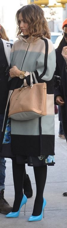 Who made  Jessica Alba's tan handbag, black stripe coat, and blue pumps?