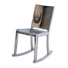 chrome...  An aluminium chair has a futuristic look.  Hudson rocking chair, Philippe Starck for Made In Design