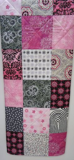Baby Girl Quilt Modern Pink and Gray by NowandThenQuilts on Etsy