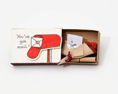 Vietnamese Artist Creates Tiny Matchbox Greeting Cards With A Hidden Messages Inside - ETSY Cute Valentines Card, Funny Valentine, Valentine Gifts, Cute Surprises, Match Boxes, Personalized Cards, Matchbox Crafts, Matchbox Art, Surprise Box