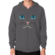 Cat Face Zip Hoodie (on man) Shirt