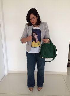 #fashion #streetstyle #blazer #navy #stripes #tshirt #jeans #denim #audreyhepburn #green #brunette #alexanderwang #wang #brazil #worldcup